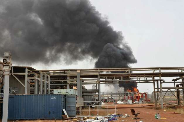 This Sunday photo shows an oil field that caught on fire in Heglig, Sudan. An official says Sudanese jets bombed three areas in South Sudan's Unity State, including a major oil field. South Sudan military spokesman Col. Philip Aguer said Antonov bombers accompanied by MiG 29 jets bombed the town of Abiemnom in Unity State and the Unity State oil field. Photo: Abd Raouf, AP / AP