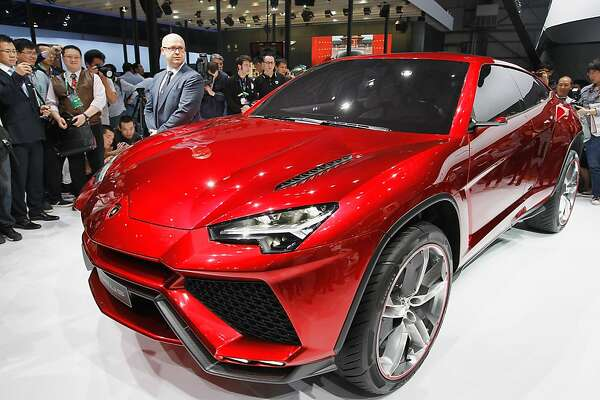 BEIJING, CHINA - APRIL 23:  The Lamborghini SpA Urus sport-utility concept vehicle is unveiled during the media day of the 2012 Beijing International Automotive Exhibition at beijng International Exhibition Center on April 23, 2012 in Beijing, China.   Auto China is China's leading auto show and many of the world's carmakers are in attendance despite lagging sales in the country.  (Photo by Lintao Zhang/Getty Images)