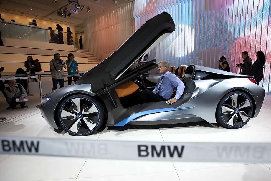 A BMW i8 Spyder is displayed at the Beijing International Automotive Exhibition in Beijing, China, Monday, April 23, 2012. (AP Photo/Alexander F. Yuan) Photo: Alexander F. Yuan, Associated Press