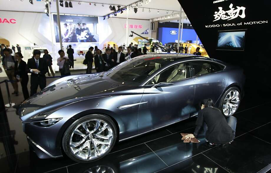 A Mazda Shinari Design concept car is displayed at the Beijing International Auto Exhibition in Beijing, China, Monday, April 23, 2012.  (AP Photo/ Vincent Thian) Photo: Vincent Thian, Associated Press