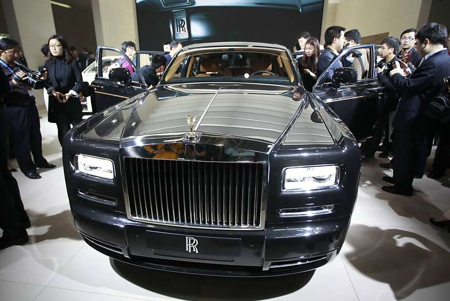 Latest model of Rolls Royce Phantom Series II is on display at the Beijing International Auto Exhibition in Beijing, China, Monday, April 23, 2012. The China's biggest auto show this year opens to the public on Friday.  (AP Photo/ Vincent Thian) Photo: Vincent Thian, Associated Press