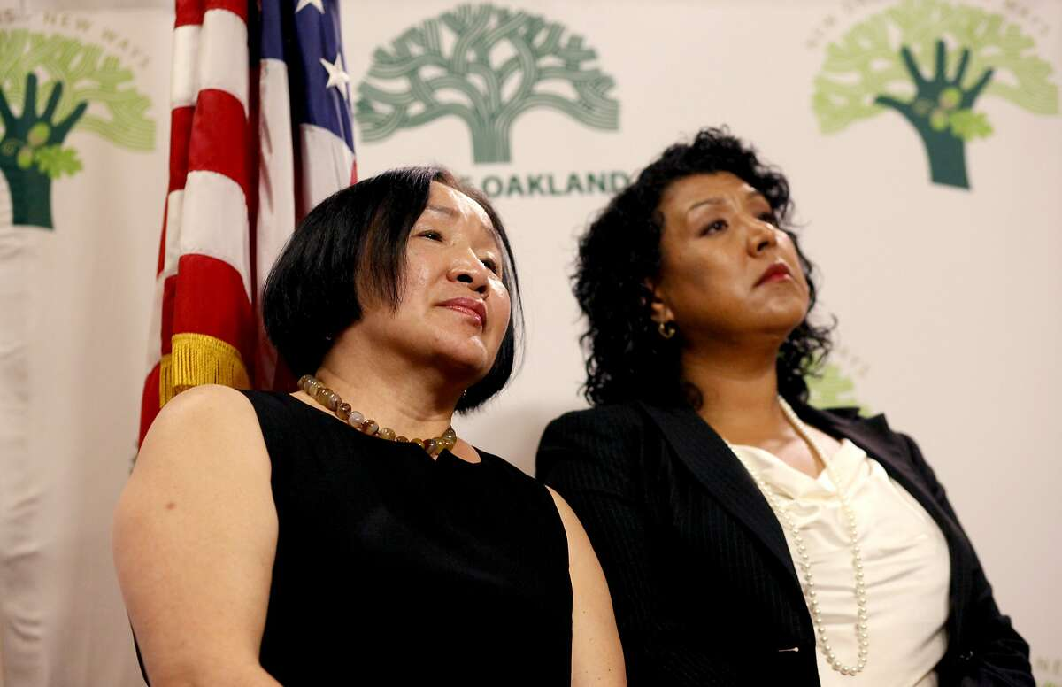 Oakland Mayor Jean Quan (left) forced City Administrator Deanna Santana out early, but now apparently wants her back as a paid consultant.