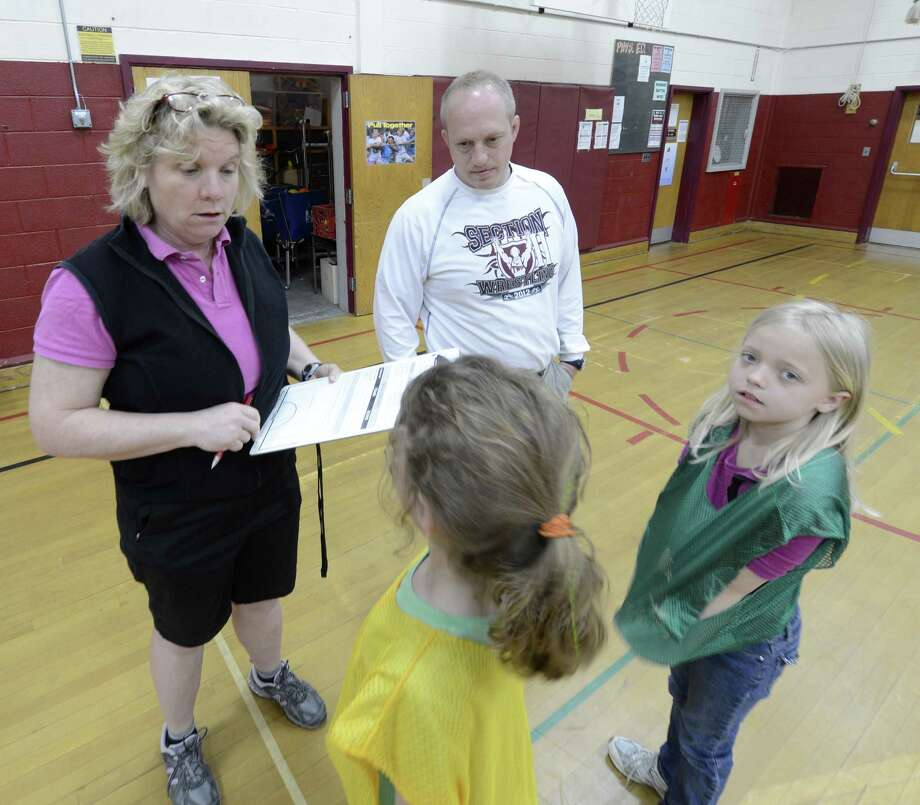 Laura Barry and Steve Jones with their dodge ballers at Charlton Heights Elementary School in Charlton, N.Y. April 20, 2012.   (Skip Dickstein/Times Union) Photo: Skip Dickstein / 00017303A