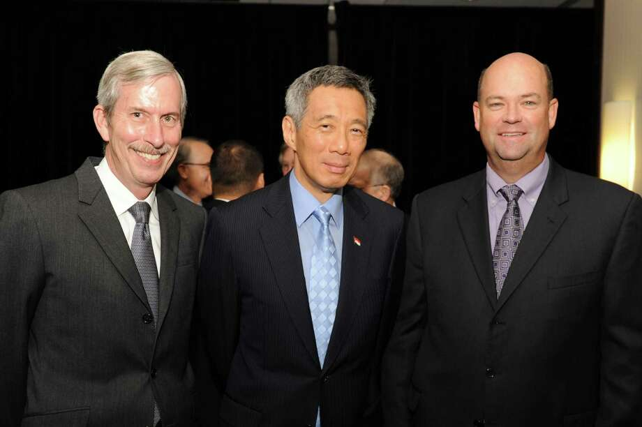John Carrig, Prime Minister Lee Hsien Loong and Ryan Lance at a luncheon with Singapore Prime Minister Lee Hsien Loong hosted by Asia Society Texas Center and the Greater Houston Partnership. Courtesy photo / DirectToArchive