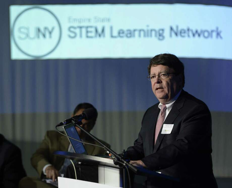 F. Michael Tucker, President & CEO, Center for Economic Growth speaks at the launch of the Tech Valley STEMSmart Alliance at the WMHT studies in Troy, N.Y. April er, 2012.  STEMSmart is an  with business and educations from throughout the region pushing for sustainable education programs focusing on science, Technology, engineering and math. (Skip Dickstein/Times Union) Photo: Skip Dickstein / 2012