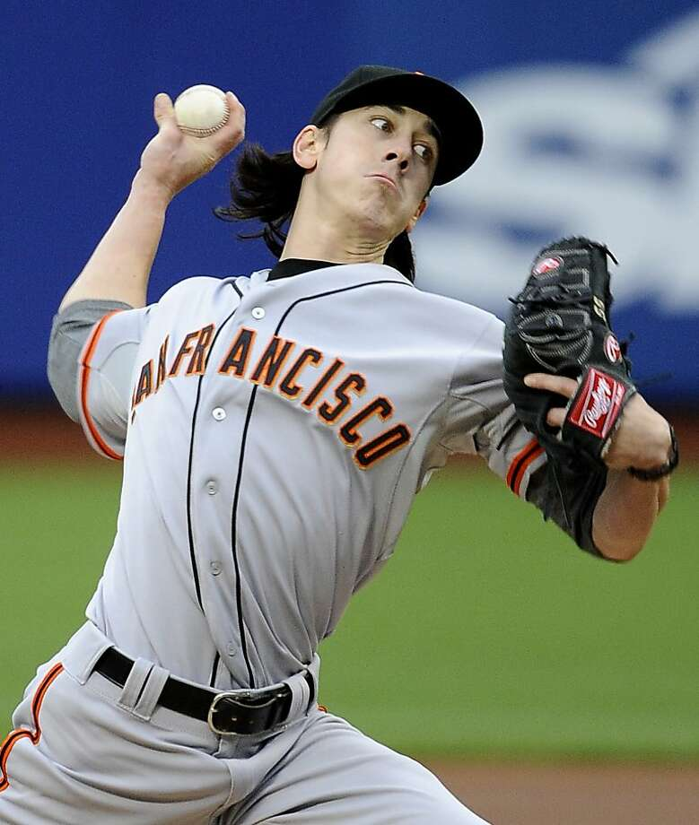 San Francisco Giants starting pitcher Tim Lincecum throws to the New York Mets in the first inning of a baseball game Monday, April 23, 2012, in New York. The Giants won 6-1.(AP Photo/Kathy Kmonicek) Photo: Kathy Kmonicek, Associated Press