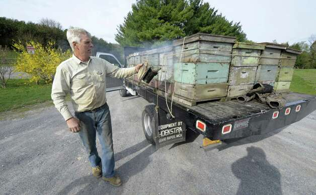 Gary Rulison of the Rulison Honey Farms smokes bees to be used for pollination of the Indian Ladder apple orchard in Altamont, N.Y. April 18, 2012.  (Skip Dickstein/Times Union) Photo: Skip Dickstein / 00017266A