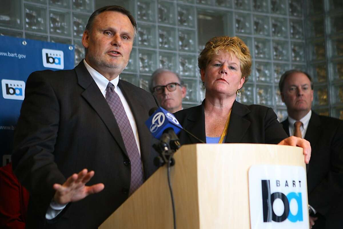 Paul Oversier, assistant general manager at BART, speaks to the media about their decision to recommend North American-based Bombardier to build their next generation of rail cars during a conference Monday, April 23, 2012 in Oakland, Calif.