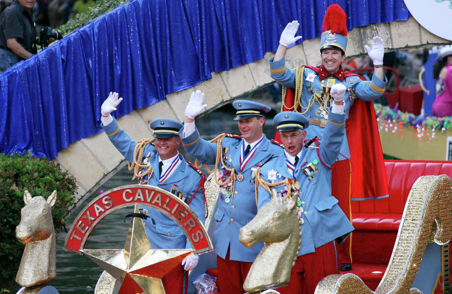 "King Antonio XC Tom Green (top) and other Texas Cavaliers pass through the Arneson River Theatre on the King's Cruiser float during the 2012 Texas Cavaliers' River Parade ""Rockin' on the River"" on Monday, April 23, 2012. Photo: EDWARD A. ORNELAS, San Antonio Express-News / SAN ANTONIO EXPRESS-NEWS (NFS)"