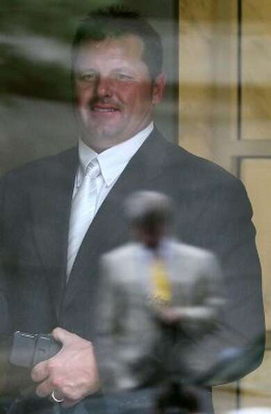 April 23 Former Astros pitcher Roger Clemens leaves the U.S. District Court as