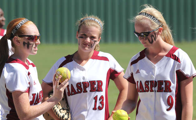 Key pieces of Jasper's softball future include, left to right, Cassidy Clark, Logan Whitehead and Kahla Street. Photo: Jason Dunn