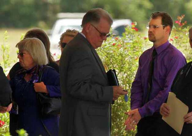 Mother Linda Golden and son-in-law Keith Schuchardt arrive to the funeral service of Kala Marie Golden-Schuchardt at First Baptist Church on Tuesday, April 24, 2012, in Willis.  Kala Marie Golden-Schuchardt, age 28 of Spring, Texas passed away on Tuesday, April 17, 2012 in the Woodlands. Verna McClain is accused of shooting Kala Golden-Schuchardt to death as she was leaving the Northwoods Pediatric Center, and kidnapping Keegan Schuchardt. Photo: Mayra Beltran, . / © 2012 Houston Chronicle