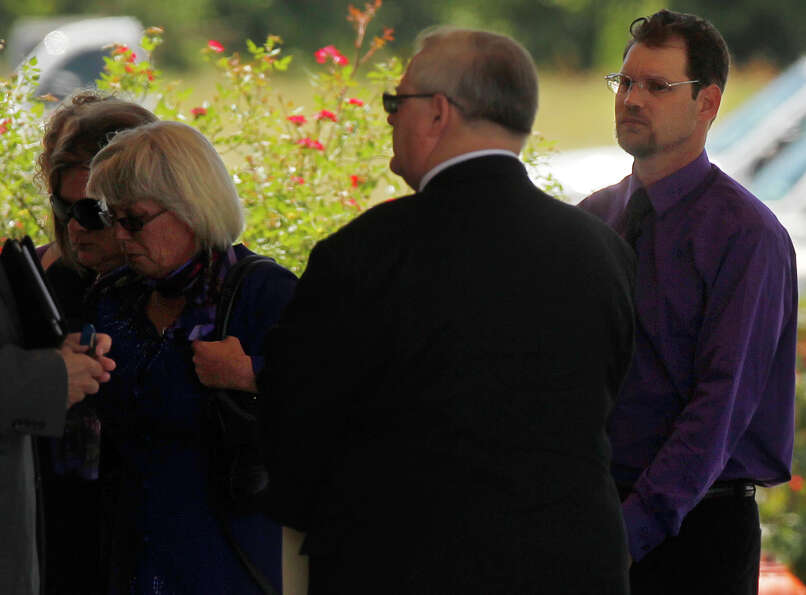 Mother Linda Golden and son-in-law Keith Schuchardt arrive to the funeral service of Kala Marie Gold