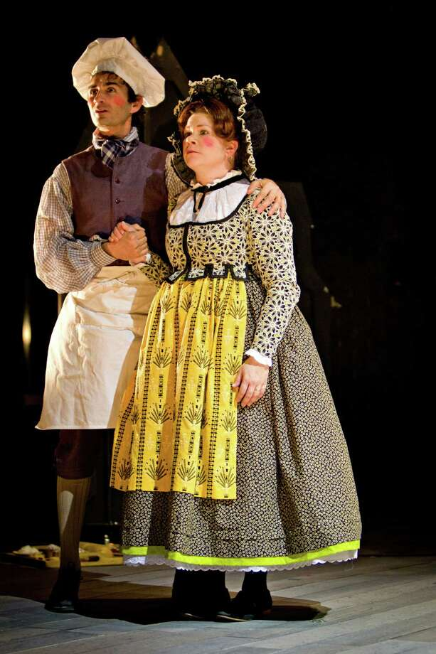 Erik Liberman takes on the role of the Baker, while Derby resident Danielle Ferland plays the Baker's Wife, in the new production of the 1987 Tony Award-winning musical by Stephen Sondheim and James Lapine 'Into the Woods,' which begins a three-week run at Westport Country Playhouse, on Tuesday, May 1. Contributed photo/Richard Anderson. Photo: Richard Anderson, ©2012 Richard Anderson / ©2012 Richard Anderson