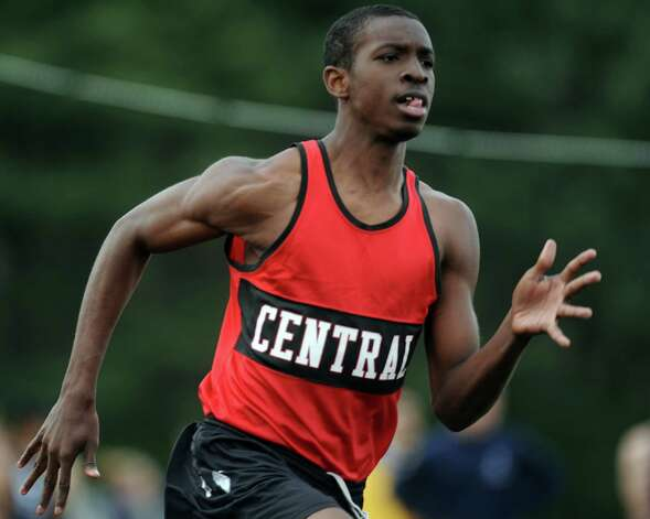 Central's Giovanni Osbourne competes in the 400 meter race Tuesday, April 24, 2012 during a track meet with Staples and Trumbull at Trumbull High School. Photo: Autumn Driscoll / Connecticut Post