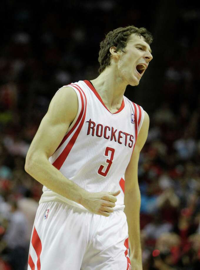 Houston Rockets' Goran Dragic reacts to missing a 3-point shot against the Utah Jazz during the fourth quarter of NBA game at Toyota Center  Wednesday, April 11, 2012, in Houston.  ( Melissa Phillip / Houston Chronicle ) Photo: Melissa Phillip / © 2012 Houston Chronicle