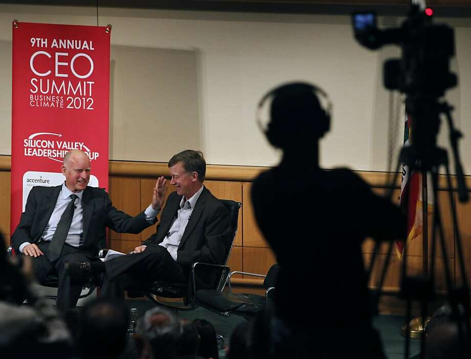 California Gov. Jerry Brown and Colorado Gov. John Hickenlooper appear on a panel to discuss competitiveness in a global economy at the 9th annual CEO Business Climate Summit in San Jose, Calif. on Tuesday, April 24, 2012. Photo: Paul Chinn, The Chronicle