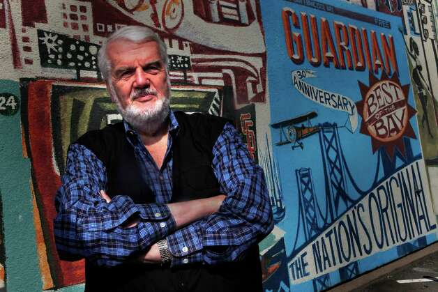 Bruce Brugmann, owner of the Bay Guardian, is seen in front of a mural at the Bay Guardian offices on Friday, October 15, 2010 in San Francisco, Calif. Photo: Lea Suzuki, The Chronicle