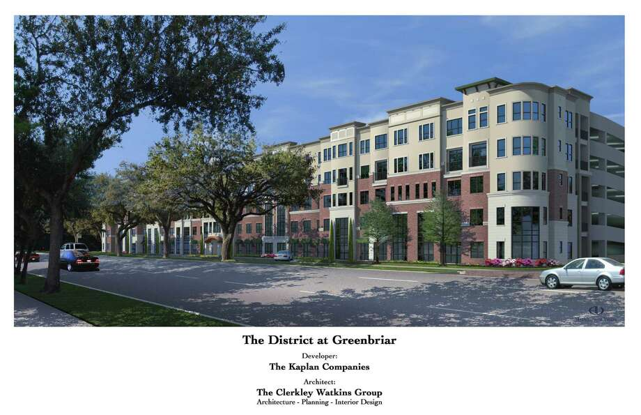 Kaplan Management Co.'s The District at Greenbriar, seen here in this rendering, will soon go up at the site of the old Greenbriar Chateau apartments at 4100 Greenbriar. Photo: NA