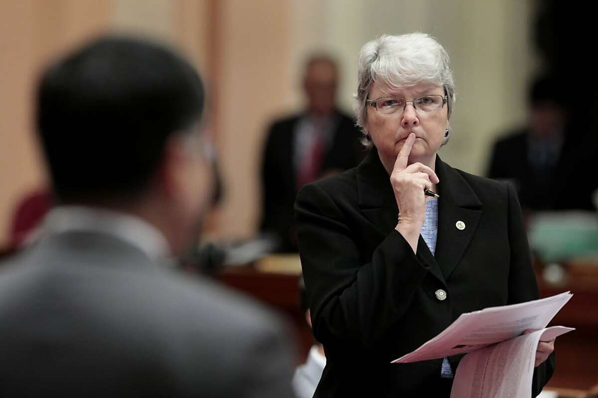 State Sen. Christine Kehoe, D-San Diego, listens as State Sen. Ted Lieu, D-Torranced urged lawmakers to reject a measure she is carrying to ban the sale, trade or possession of shark fins, during the Senate session at the Capitol in Sacramento, Calif., Tuesday, Sept. 6, 2011. Lieu and Sen. Leland Yee, D-San Francisco, called the bill, by Assemblyman Paul Fong, D-Cupertino, a racist measure because the fins are used in a soup considered a delicacy in some Asian cultures. Despite the opposition the bill was approved on a 25-9 vote and sent to the governor.