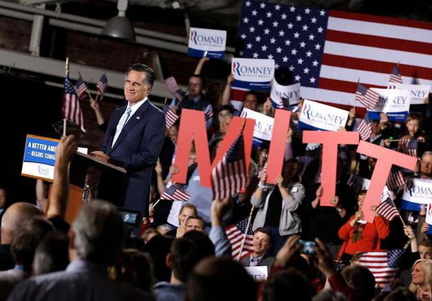 "Republican presidential candidate, former Massachusetts Gov. Mitt Romney addresses supporters during a campaign rally titled ""A Better America Begins Tonight"" at the Radisson Hotel April 24, 2012 in Manchester, New Hampshire. Returning to the state where a January primary victory propelled him to front-runner status, Romney delivered remarks on the day voters in New York, Connecticut, Delaware, Rhode Island and Pennsylvania cast ballots in their state primaries. Photo: Chip Somodevilla, Getty Images"