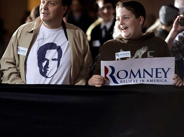 "Supporters of Republican presidential candidate, former Massachusetts Gov. Mitt Romney wait for his arrival before a campaign rally at the Raddisson Hotel April 24, 2012 in Manchester, New Hampshire. In a speech titled ""A Better America Begins Tonight,"" Romney will deliver remarks on the day as primary voters head to the polls in New York, Connecticut, Delaware, Rhode Island and Pennsylvania. Photo: Chip Somodevilla, Getty Images"