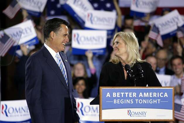 Republican presidential candidate, former Massachusetts Gov. Mitt Romney and wife, Ann, take the stage at an election night rally in Manchester, N.H., Tuesday, April 24, 2012. Photo: Jae C. Hong, Associated Press