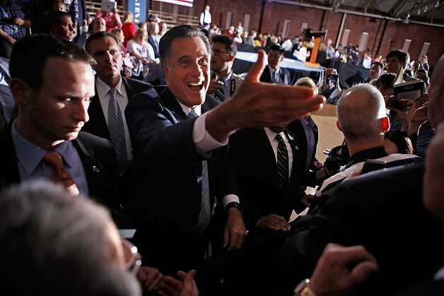 "Republican presidential candidate, former Massachusetts Gov. Mitt Romney shakes hands with supporters during a campaign rally titled ""A Better America Begins Tonight"" at the Radisson Hotel April 24, 2012 in Manchester, New Hampshire. Returning to the state where a January primary victory propelled him to front-runner status, Romney delivered remarks on the day voters in New York, Connecticut, Delaware, Rhode Island and Pennsylvania cast ballots in their state primaries. Photo: Chip Somodevilla, Getty Images"