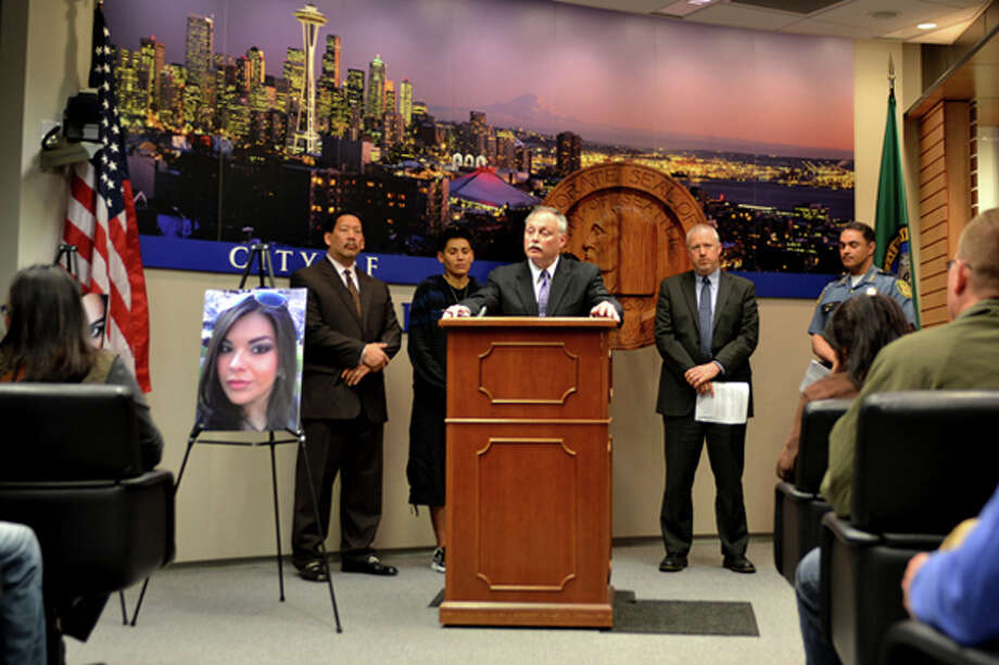 Police Chief John Diaz talks about the random shooting of Nicole Westbrook, a 21-year-old woman who was hurt April 22 in Pioneer Square. Police said Tuesday they need help the public's help identifying her attacker. Photo: Aaron Pickus/Mayor's Office