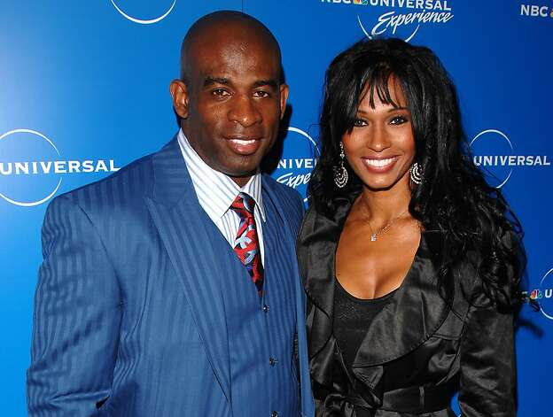 In a May 12, 2008  photo Deion Sanders and Pilar Sanders attend the NBC Universal Experience at Rockefeller Center in New York. An inmate listing on Collin County, Texas,  website early Tuesday April 24, 2012, shows that Pilar Sanders was arrested Monday and booked into the county jail on the family violence charge.   (AP Photo/Peter Kramer) Photo: Peter Kramer, Associated Press