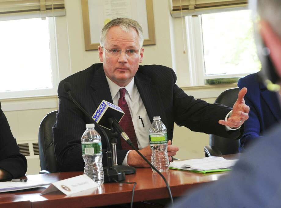 William McKersie was voted by the Greenwich Board of Education to be the new Greenwich Public Schools' superintendent at the Havemeyer Building in Greenwich, Conn., Wednesday, April 25, 2012. Photo: Helen Neafsey / Greenwich Time