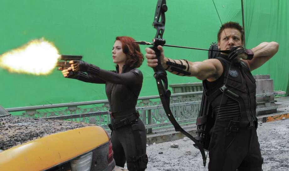 """Marvel's The Avengers"" L to R: BLACK WIDOW (Scarlett Johansson) and HAWKEYE (Jeremy Renner)"