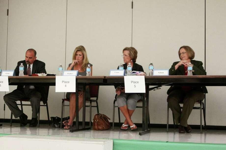 Candidates for Lumberton ISD School Board participated in a political forum at Lumberton Primary School on Tuesday, April 17. Pictured; from left, James Glenn, Julie Walker, Margaret Cruse, and Dr. Cheryl Nelson. Photo: David Lisenby, HCN_Forum