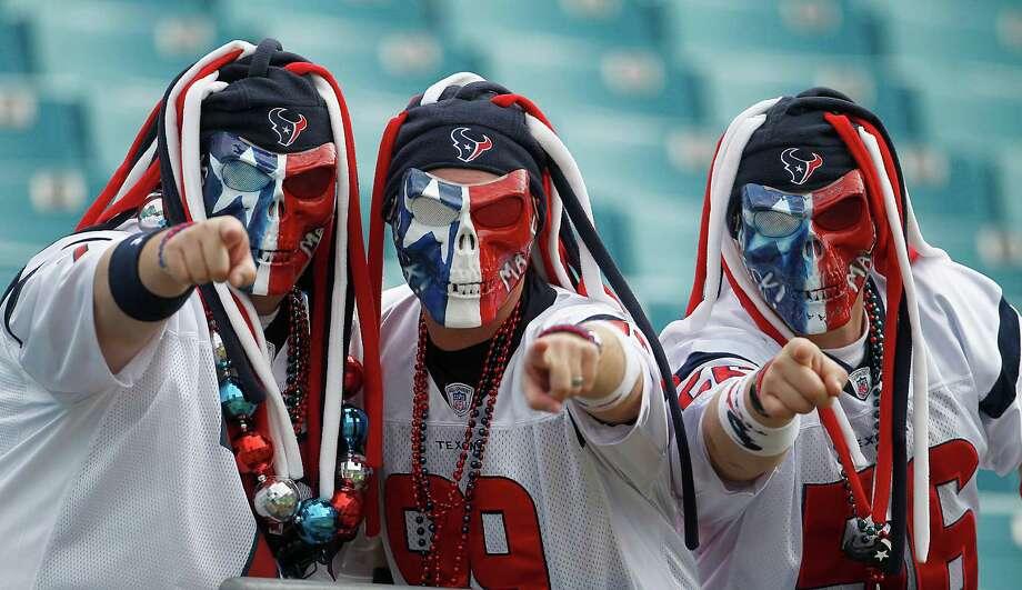 Texans fans before the start of an NFL football game at EverBank Field in Jacksonville, FL, Nov. 27, 2011.  ( Karen Warren / Houston Chronicle ) Photo: Karen Warren, Staff / © 2011 Houston Chronicle