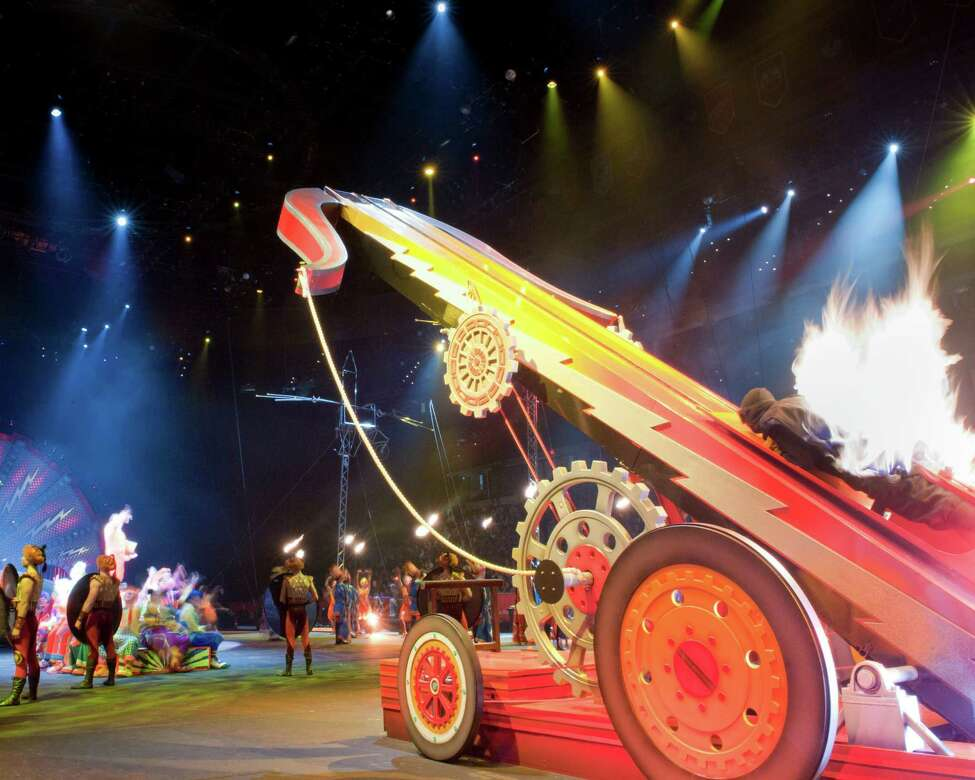 Brian Miser, aka The Human Fuse, takes off. (Courtesy of Ringling Bros. and Barnum & Bailey)