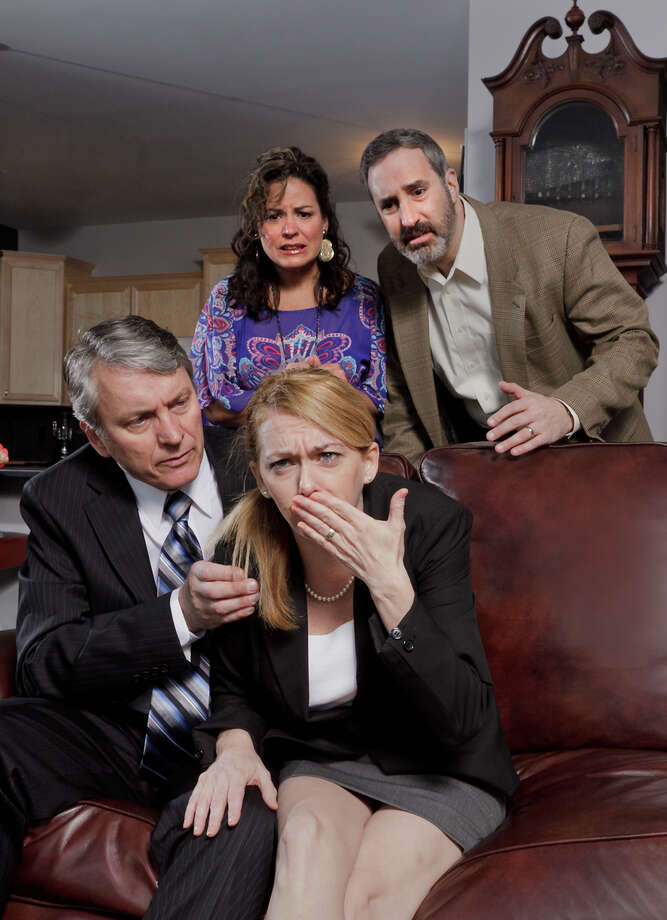 Hubby Alan (Michael McKenzie, seated) tries to take hold of a potentially bad situation, while hosts Veronica and Michael (Brigitte Viellieu-David, Ken Krugman, standing) worry for poor Annette (Brenny Rabine, seated) in Capital Repertory Theatre's production of Yasmina Reza's raucous hit comedy, ''God of Carnage.'' (Joseph Schuyler photo) Photo: Joseph Schuyler / © Joseph Schuyler
