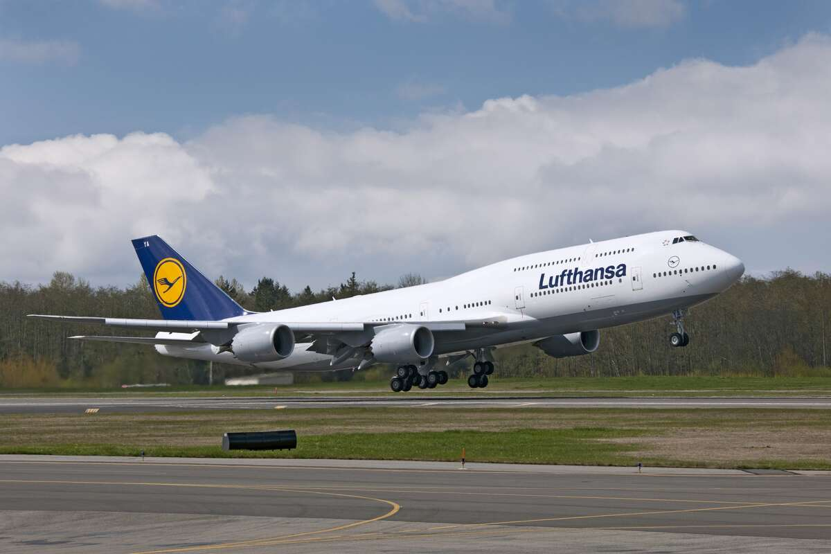 Lufthansa's first Boeing 747-8 Intercontinental, the first for any airline, is shown during its first flight, on Feb. 8, 2012.
