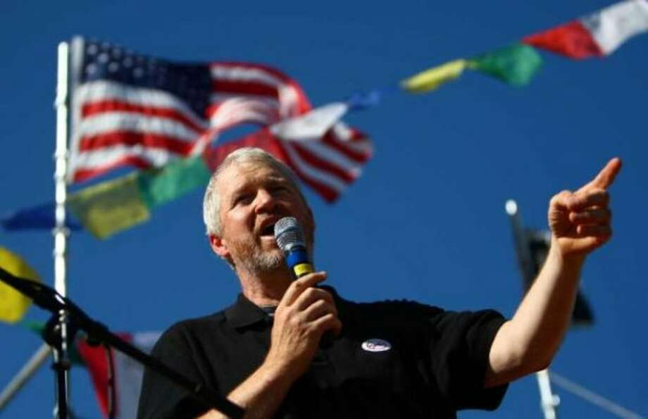Seattle Mayor Mike McGinn speaks at Hempfest.  Hizzoner is already on the pre-campaign trail, holding news conferences to tout his budget.  McGinn is up for reelection in 2013. Photo: JOSHUA TRUJILLO / SEATTLEPI.COM
