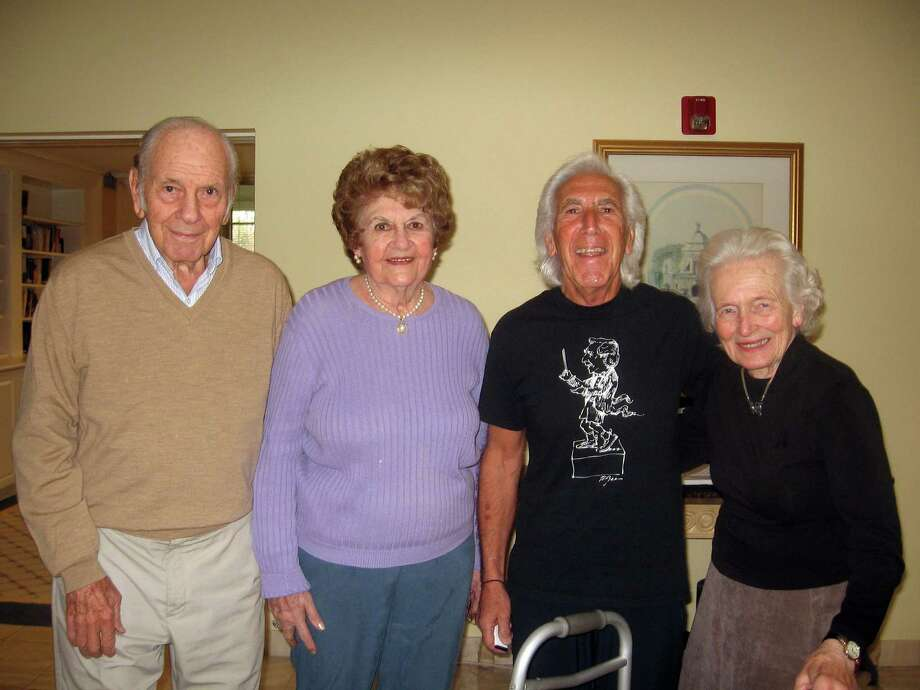 Pictured from left are Atria residents Gerry Atkin, Betty Maniatti, Maestro David Dworkin and Rosemarie Joosten. Photo: Contributed Photo