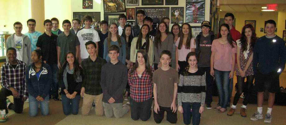 A group portrait of the 16 sets of twins in the Staples High School sophomore class, which expects to win certification from the Guinness Book of World Records for the figure. Photo: Contributed Photo / Westport News contributed