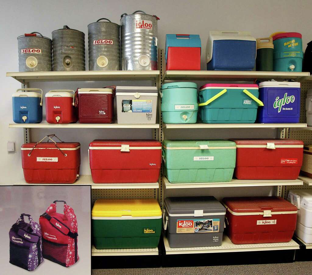 a selection of vintage igloo coolers at igloo products corp thursday march 1
