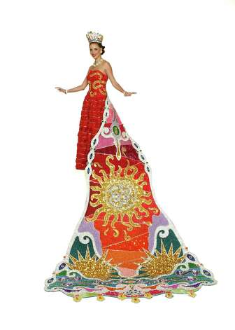 Carey Elizabeth Pritchard, Duchess of Whimsical Imagination The gown is inspired by the couture Spanish designer Balenciaga and enhanced by designs on the bodice from jeweler Carrera y Carrera. The train was inspired by the colorful, fanciful shapes and designs that are found in Barcelona's Parc Güell. Shaded from violet to red-orange, this magnificent design terminates with teardrop pendants. The headpiece is an undulating shape of sapphires and rubies originally designed by the House of Cartier. The duchess is the daughter of Mr. and Mrs. Leon N. Walthall III and Mr. and Mrs. Steven Joseph Pritchard. Photo: Gary A. Stanko / Billy Smith Photography