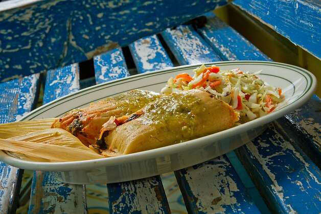 The Mushroom, Spinach, and Cheese Tamales at El Molina Central in Boyes Hot Springs, Calif. is seen on April 12th, 2012. Photo: John Storey, Special To The Chronicle