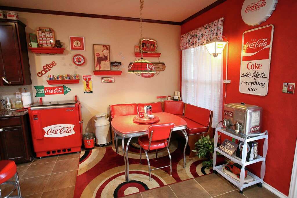 Two of their oldest items are by the vintage Formica table in the kitchen  corner: