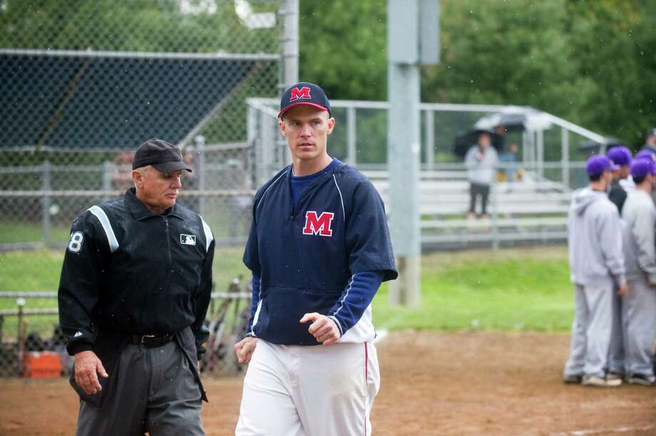 McMahon Coach John Cross on hand as Brien McMahon hosts Westhill High School in a baseball game in Norwalk, Conn., April 25, 2012. Photo: Keelin Daly / Stamford Advocate