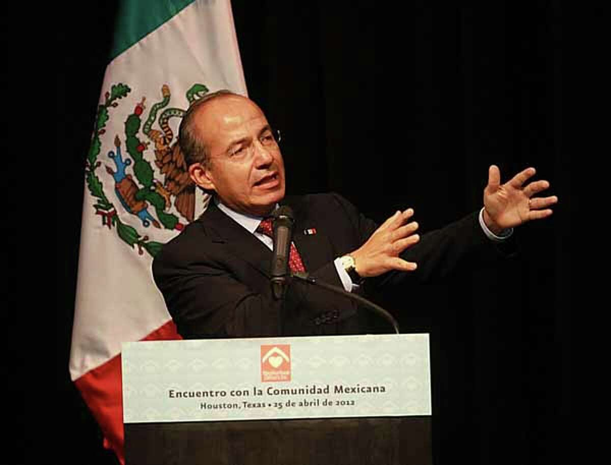 Mexican President Felipe Calderon talks about health care in Mexico among other things in the Ripley House community center Wednesday evening.