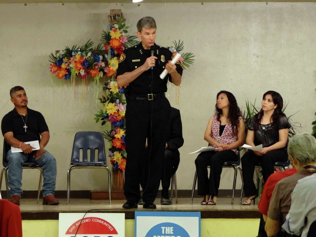 San Antonio Police Chief William McManus tells people attending a meeting at Sacred Heart Catholic Church that the department does not care about a person's immigration status on April 25, 2012. The meeting and a Mass were held to address the Arizona anti-immigration law, S.B. 1070, which was heard by the United States Supreme Court. Billy Calzada / San Antonio Express-News