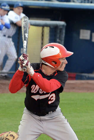 Fairfield Warde's Nick Nardone (3) at bat during the baseball game against Fairfield Ludlowe at the Ballpark at Harbor Yard in Bridgeport on Wednesday, Apr. 25, 2012. Photo: Amy Mortensen / Connecticut Post Freelance