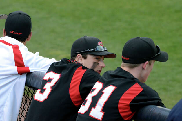 Fairfield Warde's Nick Nardone (3) in the dugout during the baseball game against Fairfield Ludlowe at the Ballpark at Harbor Yard in Bridgeport on Wednesday, Apr. 25, 2012. Photo: Amy Mortensen / Connecticut Post Freelance