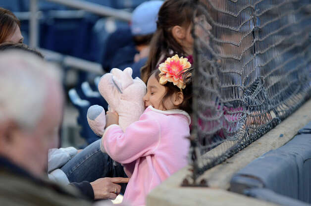 A young baseball fan hugs her stuffed elephant during the Fairfield Warde vs Fairfield Ludlowe baseball game  at the Ballpark at Harbor Yard in Bridgeport on Wednesday, Apr. 25, 2012. Photo: Amy Mortensen / Connecticut Post Freelance